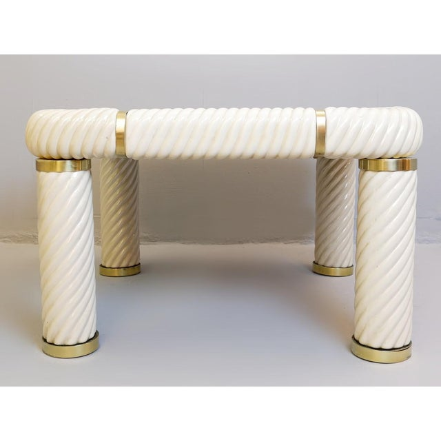1970s Tommaso Barbi Ceramic and Brass Coffee Table For Sale - Image 6 of 8