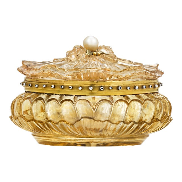 Carved Citrine Pill Box For Sale