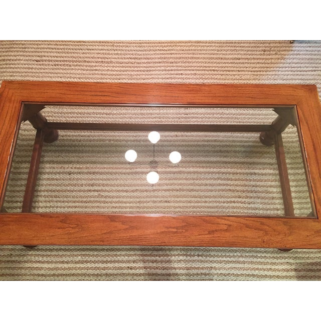 Traditional Wood & Glass Coffee Table - Image 3 of 8
