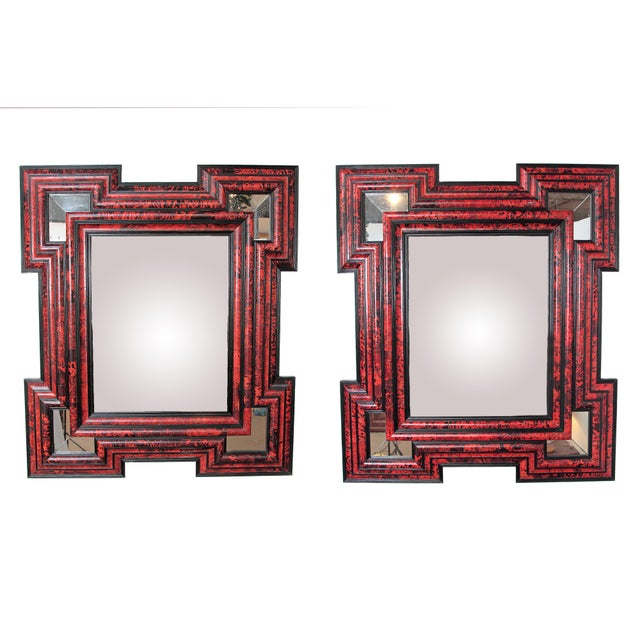 "Pair of large scale / exceptional Dutch Baroque-style red tortoise mirrors Measures: 70"" H x 61"" W."