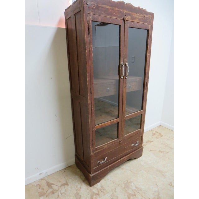 Primitive Antique Primitive Architectural Salvage Hutch Door China Cabinet Cupboard H For Sale - Image 3 of 7