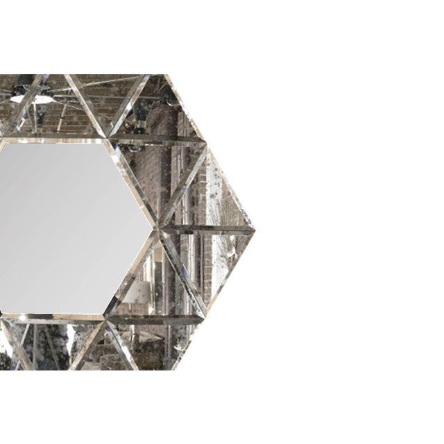Large Hexagonal Antiqued Mirror For Sale - Image 4 of 8