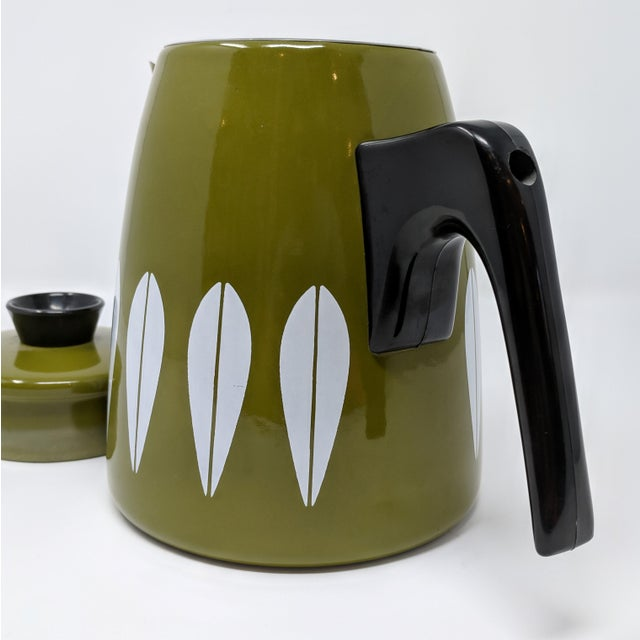 Green Cathrineholm Mid-Century Enamel Lotus Coffee Pot, Made in Norway For Sale - Image 8 of 10