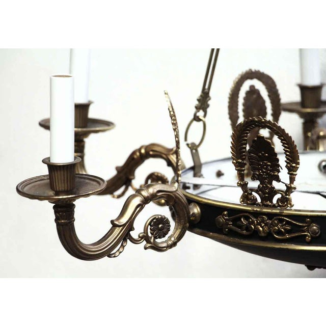 Empire Style 6 Arm Brass Chandelier With Black Finish - From the Waldorf Astoria For Sale - Image 6 of 12