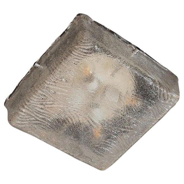 Mid-Century Modern Textured Glass Square Flush Mount With Chrome Fittings For Sale