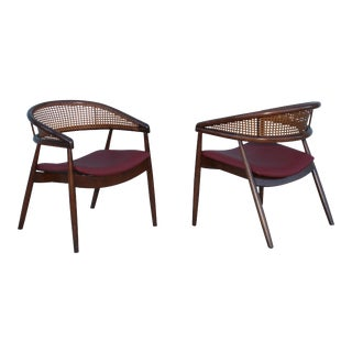 James Mont Style Bent Beech Armchairs - A Pair For Sale