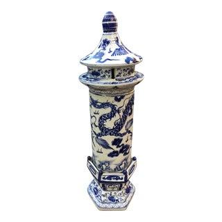 Blue & White Dragon Pagoda Pillar