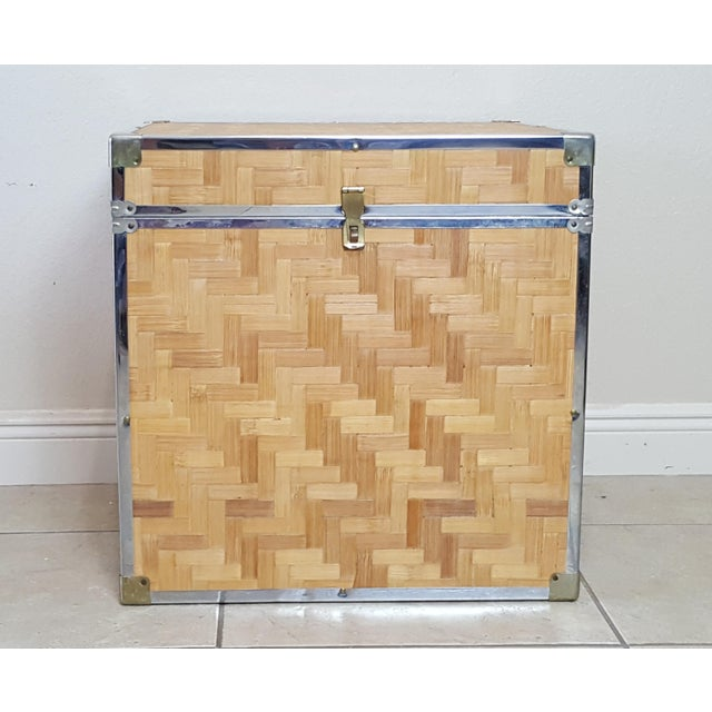 1970s 1970s Chinoiserie Woven Bamboo Storage Trunk For Sale - Image 5 of 13