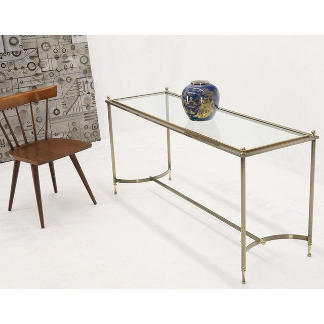 DIA - Design Institute America Midcentury Two-Tone Metal Brass and Steel Arch Stretcher Console Sofa Table For Sale - Image 4 of 12