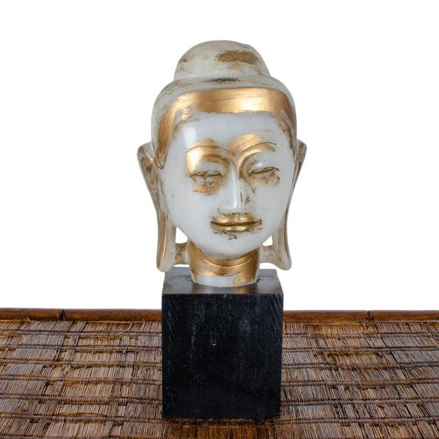 Mandalay Alabaster Shakyamuni Buddha Sculpture For Sale - Image 12 of 12