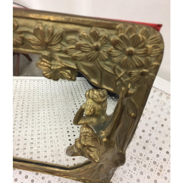 "Art Nouveau Brass Mirror "" Lady by the Lake "" - Image 5 of 8"