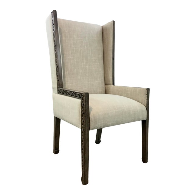 Transitional Carved Wood Linen Wingback Chair For Sale