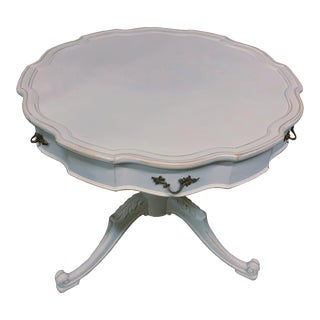 Scalloped French Drum Table Gustavian Gray Distressed Tea Table For Sale