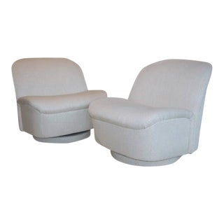 Directional White Swivel Chairs - A Pair For Sale