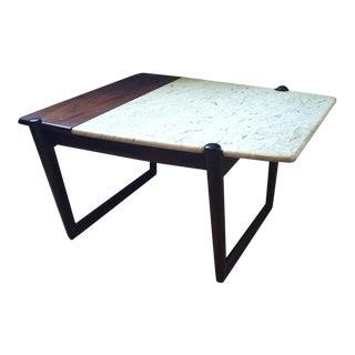 1960s Danish Modern Dark Brown Teak and Marble Side Table For Sale