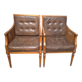 1970's Vintage Cane Armchairs - A Pair For Sale