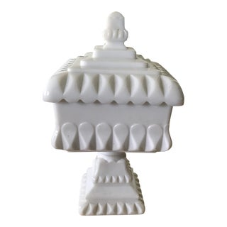 Westmoreland Milk Glass Pedestal Covered Dish For Sale