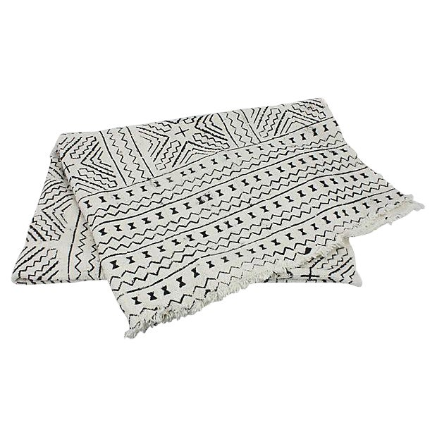African Mud Cloth White & Black Throw - Image 1 of 4