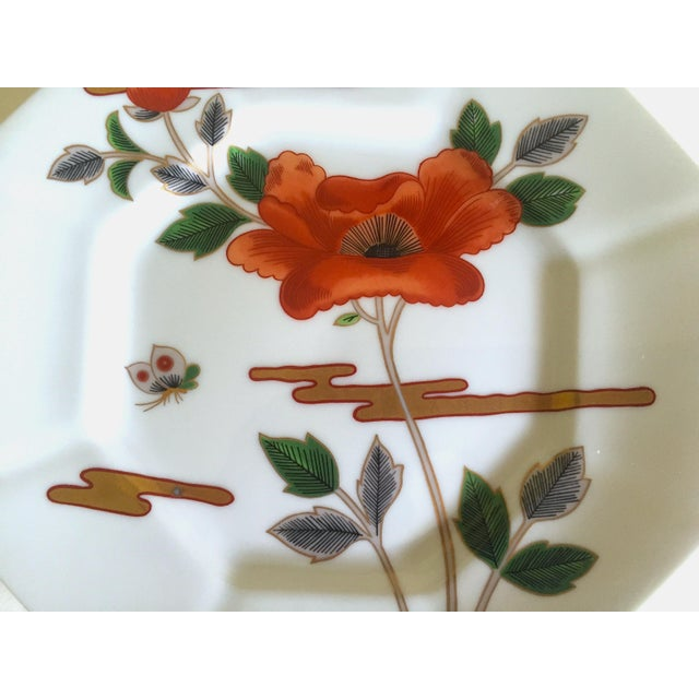 Green Fitz & Floyd Japan Vintage Contemporary Modernist Floral Porcelain Dessert Plates - Set of 3 For Sale - Image 8 of 11