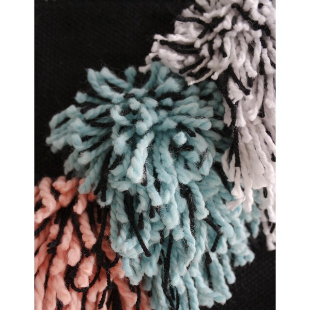 Handwoven Black, Turquoise & Light Coral Wall Hanging - Image 3 of 3