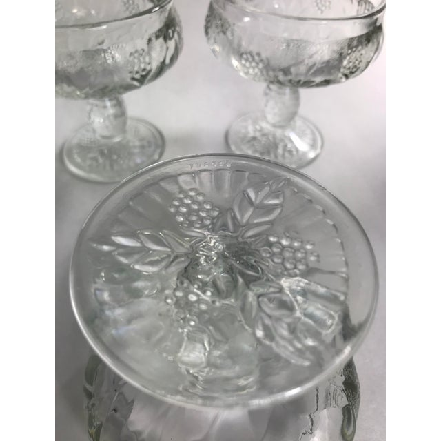 Vintage French Pressed Glass Coupe Champagne/Sorbet Glasses-Set of Three For Sale In San Francisco - Image 6 of 7