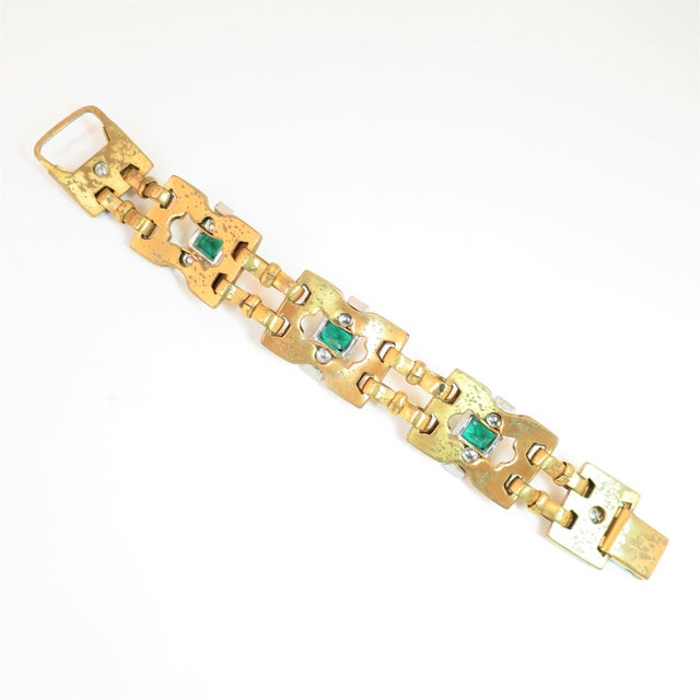 Art Deco McClelland Barclay Geometric EmErald Bracelet 1930s For Sale - Image 9 of 11