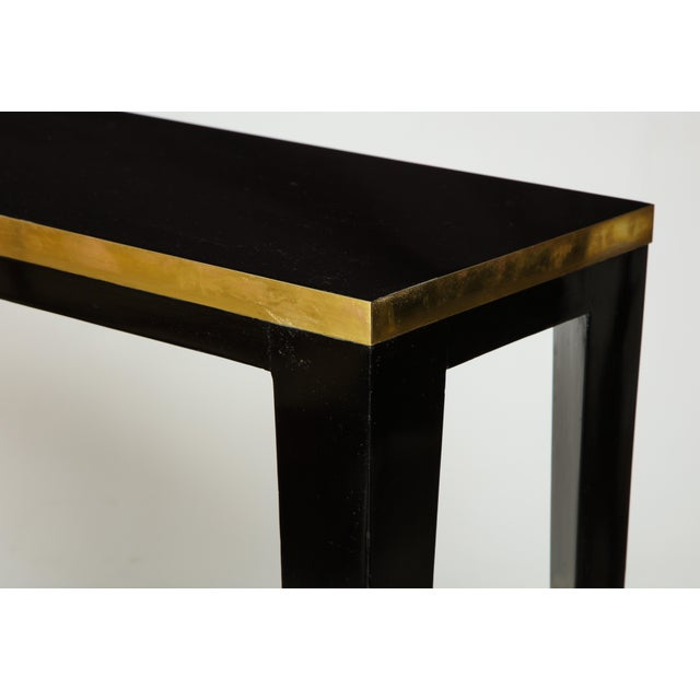 Custom Ebonized Brass-Banded Consoles on Tapered Legs For Sale In New York - Image 6 of 9