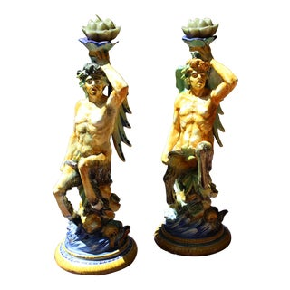 Late 19th Century Antique Majolica Satire Figures - A Pair For Sale