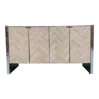 Herringbone Stone Inlay Chrome Credenza For Sale