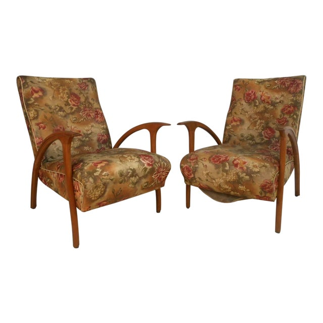 Pair of Paolo Buffa Style Armchairs For Sale