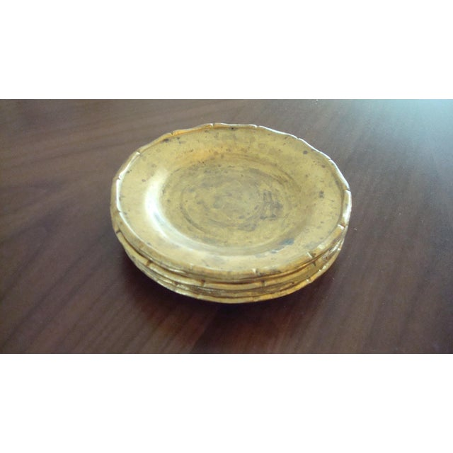 Vintage Brass Bamboo Style Coasters - Set of 6 - Image 6 of 6