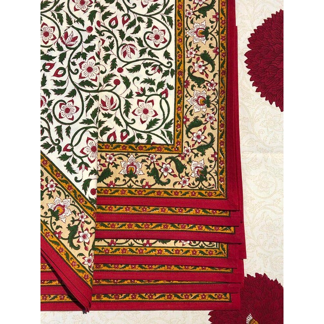 Traditional Brigitte Singh Hand Block Printed Tablecloth and Napkins - Set of 9 For Sale - Image 3 of 7