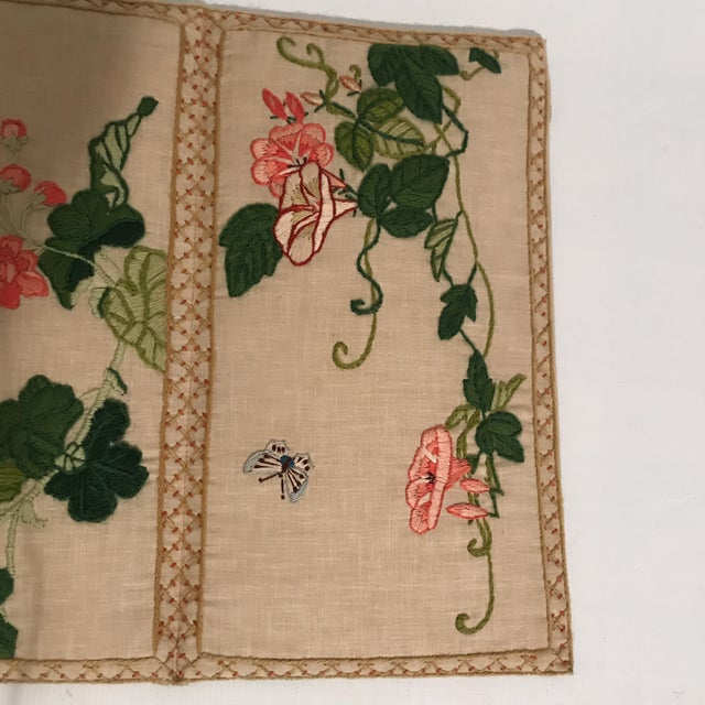 1930s Small Floral Crewelwork Screen For Sale - Image 5 of 13