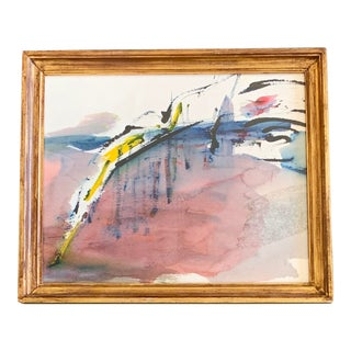 Original Vintage 70's Abstract Watercolor Painting For Sale