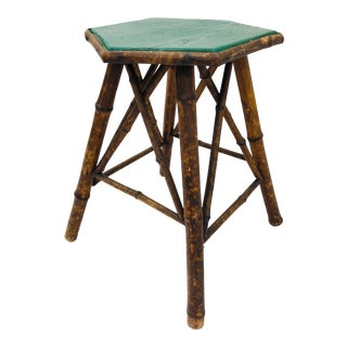 Antique Victorian Scorched Bamboo Side Table For Sale