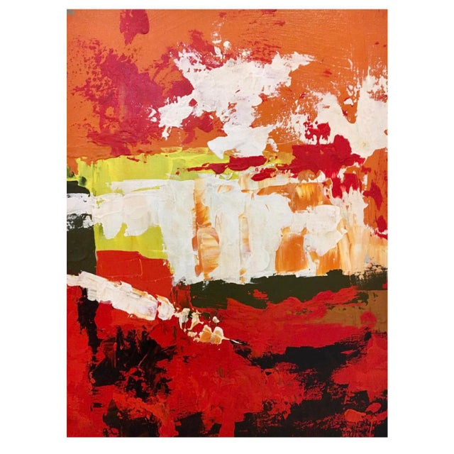 Lee Reynolds 1970s Abstract Original Oil Red Abstract Oil on Canvas Painting by Reynolds For Sale - Image 4 of 6