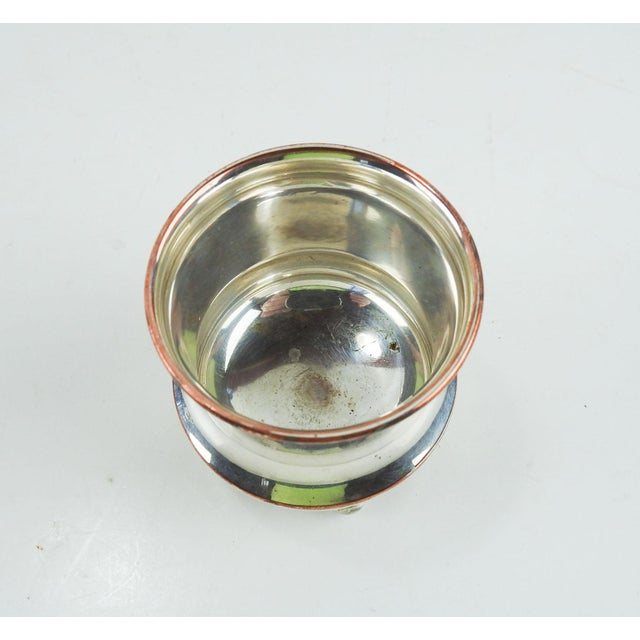 Shabby Chic Silver Plate Holder or Cup Engraved With Price of Wales Badge For Sale - Image 3 of 5