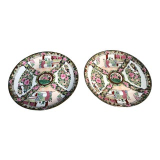 Vintage Chinese Rose Medallion Canton Porcelain Plates-a Pair For Sale