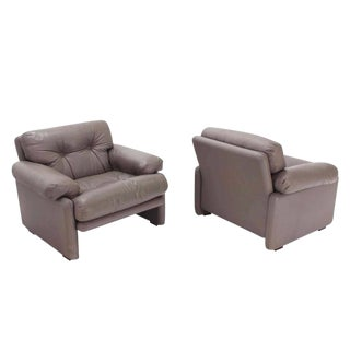 Pair of Leather B&B Italia Leather Lounge Chairs