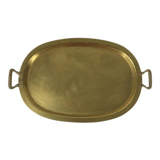 Hand Hammered Brass & Copper Oval Russian Samovar Tray