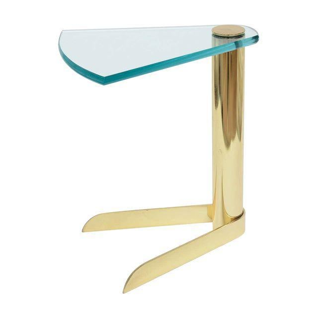Pace Sculptural Brass & Glass Wedge Side Table - Image 1 of 4