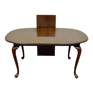 Vintage Ethan Allen Georgian Court Queen Anne Cherry Extension Dining Room Table