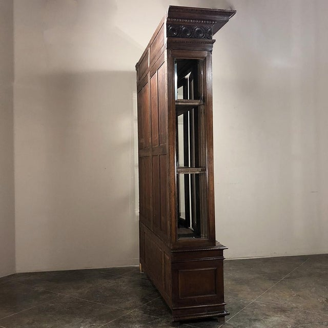 Wood Grand 19th Century Italian Walnut Neoclassical Bookcase For Sale - Image 7 of 13