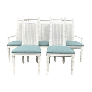 White Lacquered Faux-Bamboo Wicker Back Vintage Dining Chairs - Set of 5 Preview