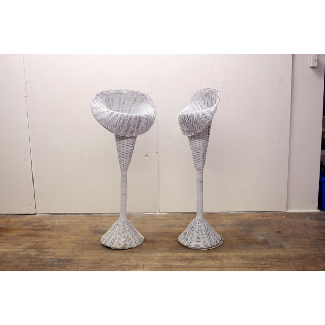 Modern White Wicker Lily-Shaped Tulip Planter Stands - a Pair For Sale - Image 11 of 11