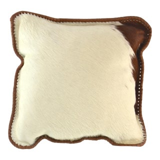 Brown & White Fur Hide Pillow For Sale