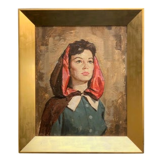Vintage Mid-Century American Portrait of Woman Oil Painting For Sale
