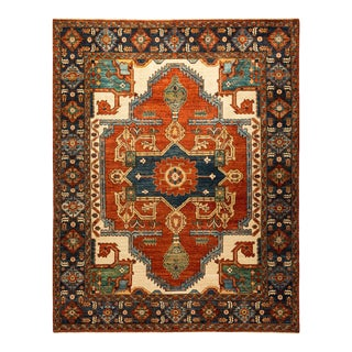 One-Of-A-Kind Oriental Serapi Hand-Knotted Area Rug, Crimson, 7' 9 X 10' 0 For Sale