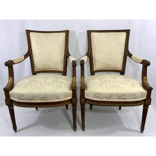 Louis XVI Style Arm Chairs a Pair For Sale - Image 6 of 6