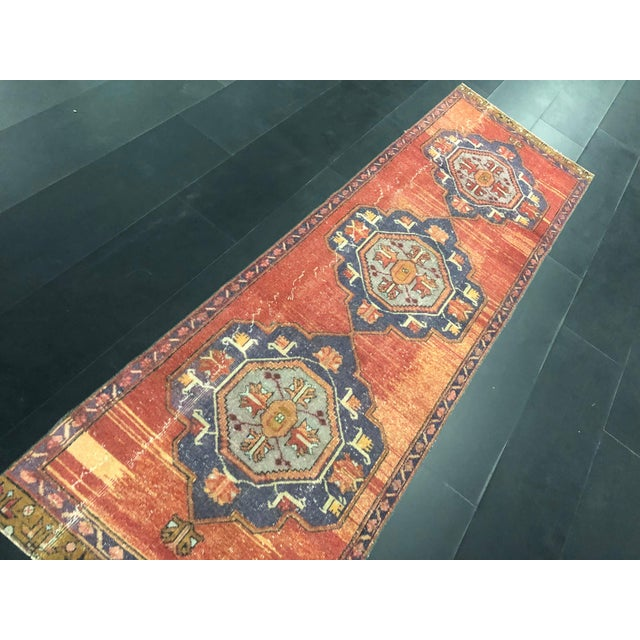 Boho Decorative Orange and Purple Turkish Handmade Vintage Runner Rug For Sale In Phoenix - Image 6 of 11